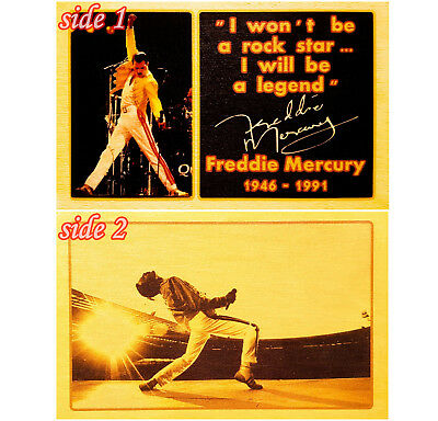 A4 Freddie Mercury QUEEN figure 2side wood Print Poster Art Gift, Signed Wembley