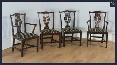 Antique English Set of 4 Four Georgian Chippendale Mahogany Dining Chairs c.1800