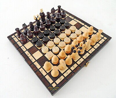 Brand New Kingdom Handcrafted Wood Chess And Draughts Set 28Cm  11 Inch Brown