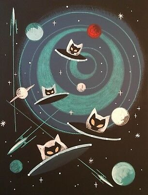 El Gato Gomez Retro Outer Space Rocket Flying Saucer Cats Futuristic Sci-Fi Pop