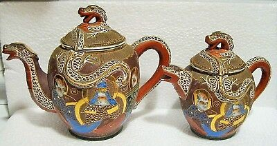 Vintage Satsuma Dragonware Moriage Set Of Two Tea Pots