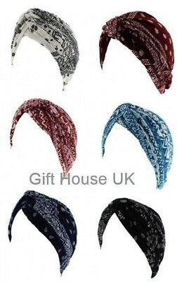 New Ladies Paisley Stretchy Indian Turban Pleated Head Wrap Chemo Cloche