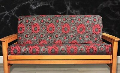 New Red Grey Flower Futon Cover Full Size Contemporay Modern Retro Fl