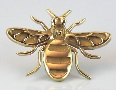 Manchester Bee! SOLID brass  pin badge brooch gift jewellery bumblebee animal