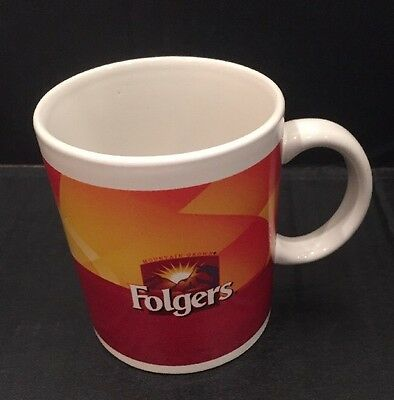 Vintage Folgers Coffee Mug Mountain Grown Cup The Best Part Of Waking Up 12 Oz