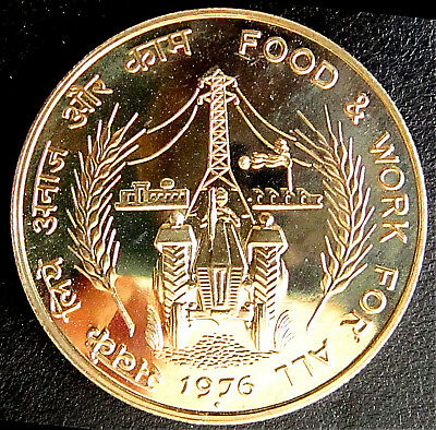 INDIA - 10 Rupees  FAO  'Food & Work for All' - 1976 -  Proof -  KM# 191