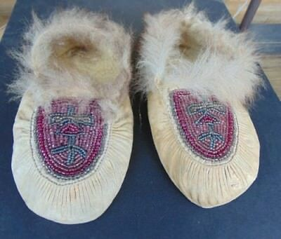 Early 1900's Native American Child's Beadwork Moccasins AAFA