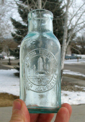 neat! SMALL size old BUNKER HILL PICKLES pictorial FOOD bottle SKILTON FOOTE CO