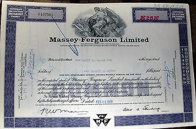 Stock Certificate Massey-Ferguson Limited Canada *