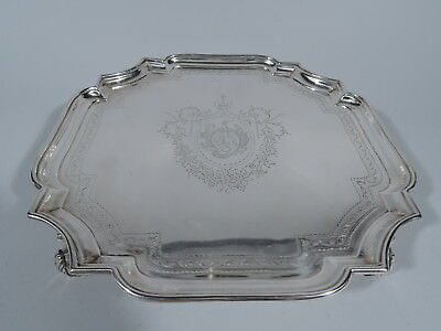 Georgian Salver - Antique Cartouche Tray - English Sterling Silver - Tuite 1727