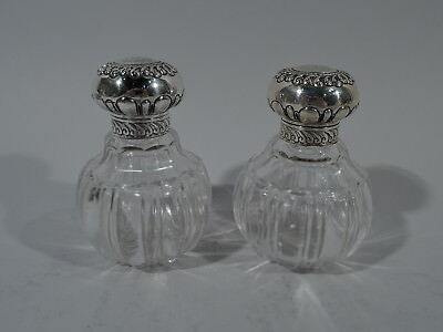 Victorian Perfumes - Pair of Antique Bottles - English Sterling Silver & Glass