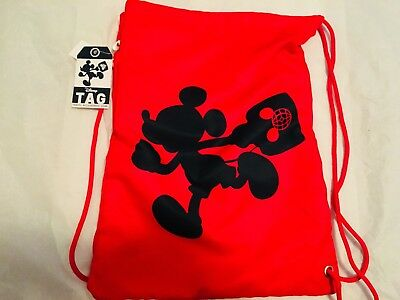 Disney Parks TAG Collection Mickey Mouse Red Travel Drawstring Bag new with tags
