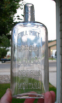SCARCE! Western flask GREAT FALLS, MONTANA / FROM LUTHER'S old bottle WHISKEY