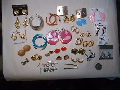 Mixed Lot Of 29 Pairs Of Earrings,some New,some Vintage,1 Sterling