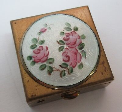 Vintage Guilloche Enamel Gold Tone Metal Pill Trinket Box Hand Painted Roses
