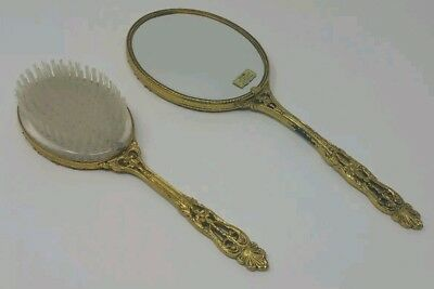 Brush and Mirror Vintage Antique Set  Floral Metal Gold Plated
