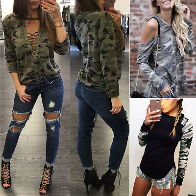 Camouflage Long Sleeve Blouse Womens Casual Loose Camo T Shirt Pullover Tops