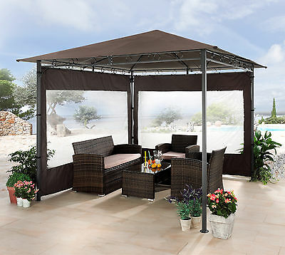 gartenpavillon pavillon metall venezia 3x3 meter plane wasserdicht naturfarben eur 229 98. Black Bedroom Furniture Sets. Home Design Ideas