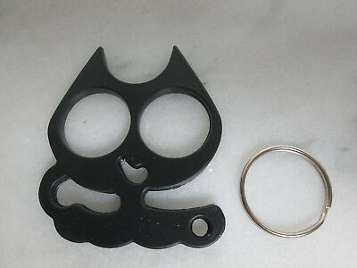 Women's  Alloy Cat Brass Knuckles Self Defense Keychain with Key Ring Black