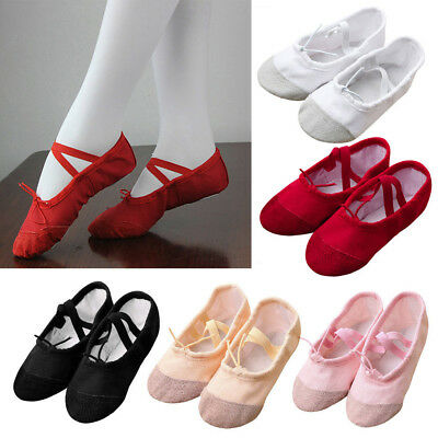 Kids Ballet Shoes Slippers Pink Canvas Children's Adult's Size Dance Gymnastics