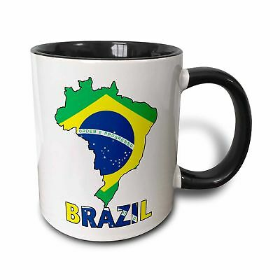 3dRose Brazilian Flag in The Map and Letters of Brazil Two Tone Black Mug, 11...
