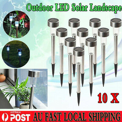 AU 10X White Solar Power LED Stainless Steel Garden Outdoor Park Path Light Yard
