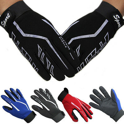 Fashion Mens Full Finger Sport Gloves Exercise Fitness Workout Gloves Black