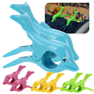 2pcs Plastic Dolphin Designed Beach Towel Clips Large Bed Pool Seat Set