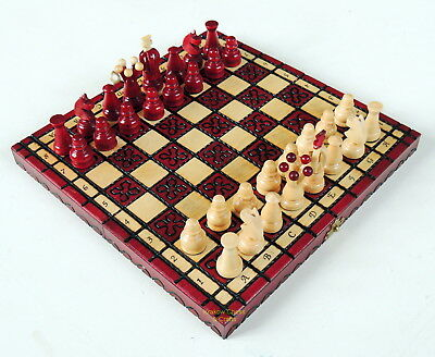 BRAND NEW KINGDOM HANDCRAFTED TRAVEL WOODEN CHESS SET 28cm / 11 inches RED