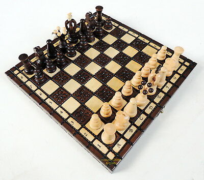 BRAND NEW KINGDOM HANDCRAFTED TRAVEL WOODEN CHESS SET 28cm / 11 inches BROWN