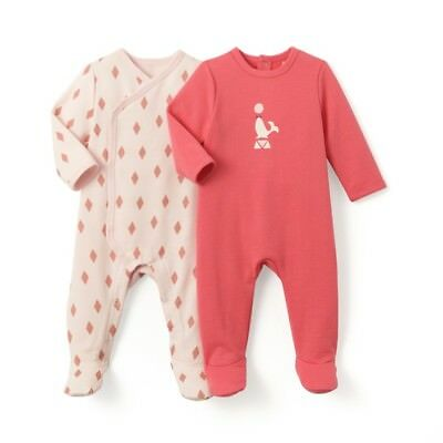 LA REDOUTE BABY GIRLS PACK OF 2 SLEEPSUITS PINK AGE 18 MONTHS NEW (ref 437)