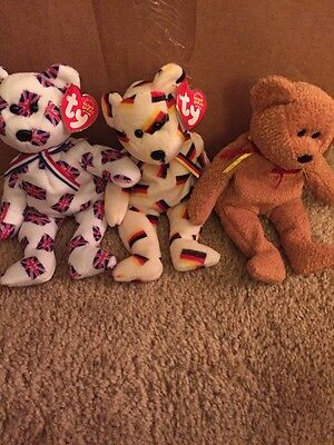 LOT OF 3 TY Beanie BABIES Bears Germania, Jack And Deutschland New With Tags