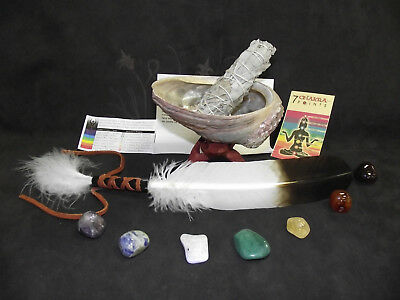 Sage Smudge Kit Chakra Smudging Kit with Feather and 7 Chakra Crystals