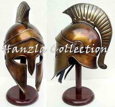 Royal Greek Corinthian Helmet Armor New Plume Medieval Knight Spartan With Stand