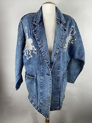 Vintage~Womens Denim Jean Jacket~Stonewash~Medium~Jeweled~80s
