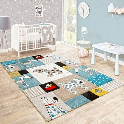 Kids Animal Rug Thick Blue Beige Nursery Carpet Baby Room Play Mat Small Large