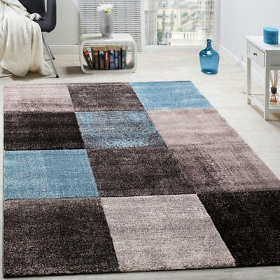 New Modern Rug Living room Area Rugs Checked Carpet Grey Teal Floor Soft Mats
