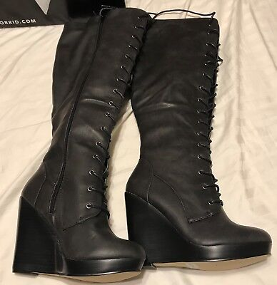 5df56b1b4692 TORRID LACE UP Combat Wedge Boots (Wide Width   Wide Calf) Size 7 ...