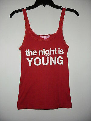 """Victoria's Secret Pink New""""The Night Is Young""""Red Cotton Lace Straps Camisole M"""