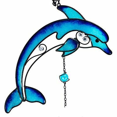 """NEW 2012 Black Metal Blue Glitter Acrylic DOLPHIN WIND CHIME by GSC 34"""" Long"""
