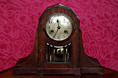 Antique Rare ART DECO KIENZLE Chiming Mantel 8 Day Clock