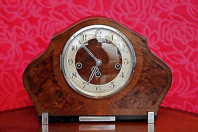 Vintage Art Deco German Foreign 8-Day Mantel Clock with Westminster Chimes