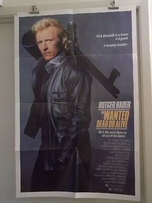 WANTED DEAD OR ALIVE one 1 sheet movie poster  RUTGER HAUER 1986