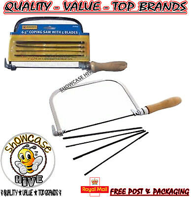 "Marksman 6.5"" Metal Steel Coping Saw With 5 Blades Strong Wooden Handle Diy"