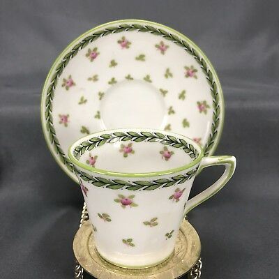 Crown Staffordshire English Hand Painted Pink Roses Floral Green Trim (2865) Cup