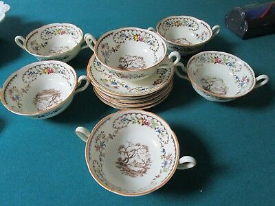 Royal Doulton The Beaufort Patters 6 Cream Soup Cups With Saucers [*206H]