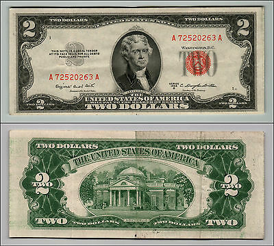 1953B $2 Dollar Bill Old Us Note Legal Tender Paper Money Currency Red Seal Z203