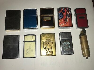Lot Of 9 Vintage Zippo Lighters Plus Another One
