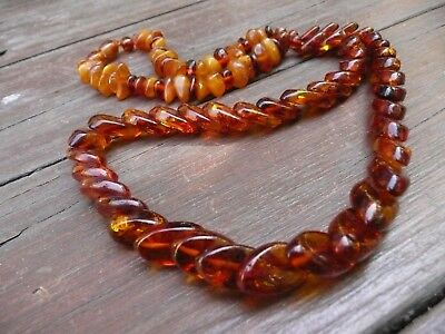 Vintage Baltic Butterscotch  Amber Necklace With Snake  Beads  琥珀色
