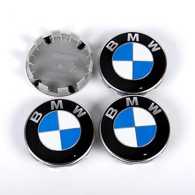 4 x WHEEL CENTRE HUB CAPS 10 Pin Clips 68mm Cover Badge Emblem Set of 4 For BMW